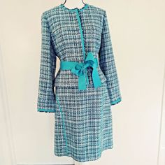 Nine & Company by Nine West Suit Size 12 Skirt and Jacket Tweed Blue with Trim #NineWest #SkirtSuit