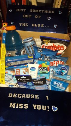 """something out of the blue"" care package - first one I've made for my boyfriend #diygiftsForFriends"