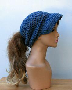 Ponytail hat jeans blue gray Cotton Visor by PurpleSageDesignz