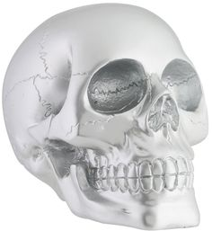 """Amazon.com: Custom & Unique {5.5"""" x 3.5"""" Inch} 1 Single, Home & Garden """"Standing"""" Figurine Decoration Made of Resin w/ Realistic Spooky Metallic Edgy Skeleton Cracked Human Skull Style {Silver Color}: Home & Kitchen"""