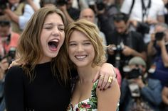 "Adéle Exarchopoulos and Léa Seydoux, from ""Blue is the Warmest Colour,"" which won the Palme d'Or at Cannes. Wow."