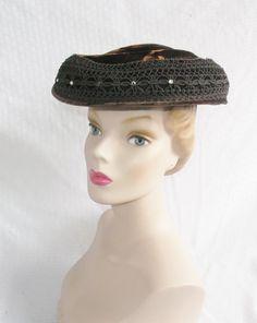 1950's Vintage Brown Velvet Saucer Hat with by MyVintageHatShop