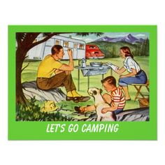 Retro CAMPING RALLY Vintage Campers Invitation. I'm obsessed with camping and need to hang this in my apt.!