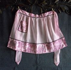 Sheer Pink See-through Vintage Handmade Waist Apron with Black and Pink Flower and Ric Rac Trim