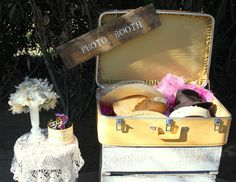Vintage Suitcase, Photo Booth, Fun Styled Hats for a Selfie Station.  Check us out at www.facebook.com/ricketyswank. Vintage Prop Rentals www.ricketyswank.com
