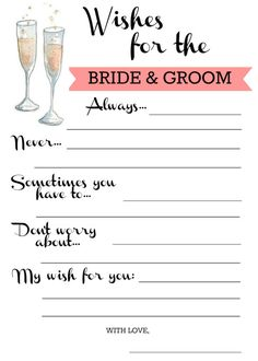 Wishes for Bride & Groom