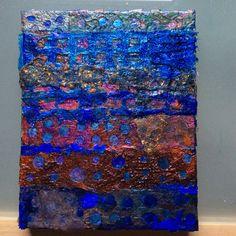 "'Indigo Summer 5' Mixed media on box canvas.12""by 9"". For sale- £250 info@lyndableybergart.co.uk"