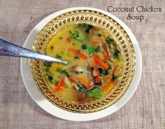 Coconut Chicken Soup.  My take on the classic Thai Soup Tom Kha.  Perfect balance of salty+sweet+spicy+sour.