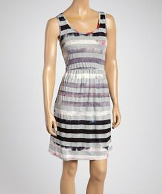Love this Black Tie-Dye Stripe Sleeveless Dress ~ $11.99 Women on #zulily! #zulilyfinds
