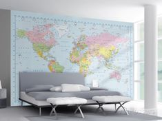 World Map Wallpaper Mural Wallpaper Mural sur AllPosters.fr