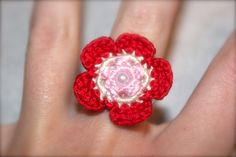 Crochet Flower Ring Valentine's Pink and Red by CatWomanCrafts, $6.00