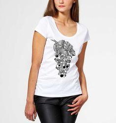 T-shirt donna uva grappolo disegno zentangle frutta cibo tumblr top stampa yoga fitness giovane unico dolci estate astratto bianco e nero di FarfallaDorata su Etsy