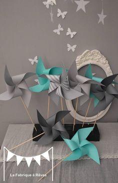 10 Moulins à vent turquoise et gris - décoration chambre bébé fille garçon - décoration baptême - décoration mariage - accessoires photobooth : Décorations murales par la-fabrique-a-reves