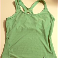 New Nike Fit Dry green racer back sport top M Have never been worn green perforated with build in bra Sz M Nike Tops Tank Tops