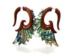 Fake Gauge Earrings ,Tribal Style, Mother of pearl Shell Angel Wing wood #TRIBALSHACK
