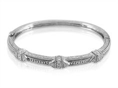 Penny Preville Diamond Shape Pattern Twist Edge Hinged Bangle Bracelet, Fashioned in 18K White Gold, Featuring Round Diamonds =.36cts Total Weight