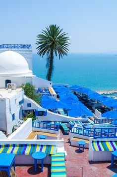 Sidi Bou Said, Tunisia  a town in northern Tunisia located about 20 km from the capital, Tunis. Named for a religious figure who lived there, Abou Said ibn Khalef ibn Yahia Ettamini el Beji. Wikipedia