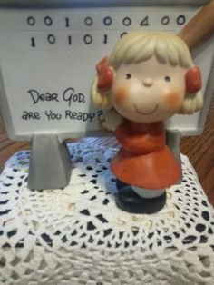 Dear God Are you Ready  Enesco Girl Figurine Nice by ZiggyzAttic