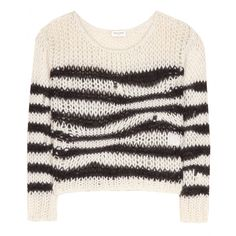 Saint Laurent - Striped open-knit sweater - This wool-blend sweater from Saint Laurent ranks high on our must-have list. The slightly cropped piece has an all-over open knit design and is detailed with distorted contrasting black stripes. seen @ www.mytheresa.com