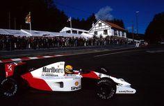 Ayrton Senna, Marlboro-McLaren-Honda, #1, pole position, (finished 1st), Belgian GP, Spa, 25th August 1991.