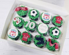 Liverpool football. Chocolate Cupcakes.