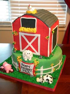 DIY Amazing Barnyard Farm Cake This barnyard cake is an assortment of all characteristics of a barnyard. It includes a big red barn, and 4 barnyard animal. Although this cake is quite a challenge t Barnyard Cake, Barnyard Party, Barnyard Animals, Farm Party, Farm Animal Cakes, Farm Animal Party, Animal Cupcakes, Cow Birthday, 3rd Birthday Parties