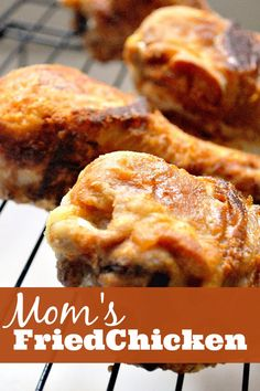Mom's Fried Chicken - 3 Ingredient recipe for crispy, delicious fried chicken! {The Love Nerds}