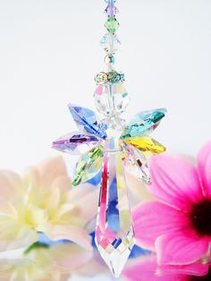 Guardian Angel Rear View Mirror Charm created with Swarovski Crystals in rainbow pastel colors.