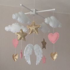 Baby mobile  Baby girl mobile  Cot mobile  Angel by EllaandBoo