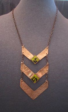 copper jewelry copper necklace Chevron necklace long