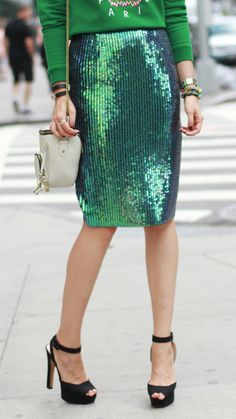 Green Sequin Pencil Skirt : How to Wear Daytime Sequins!