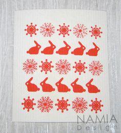 Kitchen cloth, dishcloth winter theme bunnies, snowflakes - keittiöluutu, joulu-/talviteema