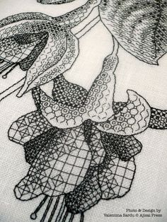 FUCHSIAS IN BLOOM (detail). A #blackwork pattern designed and stitched by  Valentina Sardu for Ajisai Designs