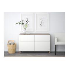 BESTÅ Comb arrumação c/portas/gavetas - efeito nogueira velat cinz/Lappviken branco, calha p/gaveta, fecho suave - IKEA