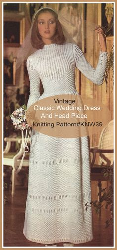 Vintage Wedding Dress Knitting Pattern Bridal Dress Knitting Pattern  #KNW39 PDF File   Mailed Printed Pattern Is Also Available-INQUIRE