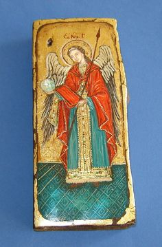 Rare Old Vintage Orthodox Icon of the Holy Archangel Gabriel Hand painted Unique… Religious Images, Religious Icons, Religious Art, Byzantine Icons, Byzantine Art, Statues, Church Pictures, Art Through The Ages, Archangel Gabriel