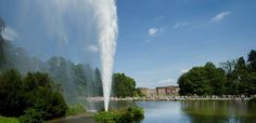 Palace Wilhelmshoehe in Kassel. Bad Wilhelmshöhe is the spa district of Kassel with its own mineral thermal spring and a popular touristic sight in Europe. Palace, Waterfall, Germany, Mineral, Parks, Flora, Travel, Outdoor, Dreams