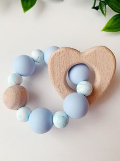Silicone Baby Teether with Wooden Heart in Baby Blue Newborn Putting Baby To Sleep, Teething Bracelet, Baby Teethers, Teething Toys, Newborn Baby Gifts, Natural Baby, Wooden Hearts, Christmas Baby, Diy Baby