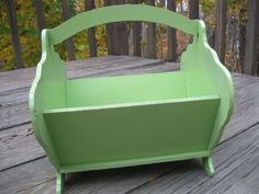 Bright Green Vintage Wooden Basket Holder / home decor / shabby chic cottage (078) by 4onemore on Etsy