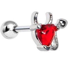Stainless Steel Red CZ Devil Heart Tragus Cartilage Earring #bodycandy #piercing #earring