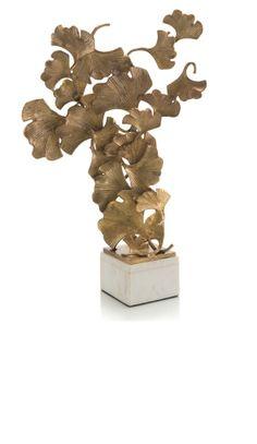 InStyle-Decor.com Crystal Mounted Brass Ginkgo Leaf Sculpture $570