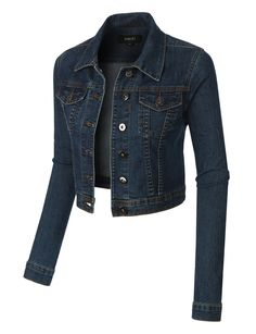 LE3NO Womens Classic Cropped Denim Jean Jacket with Pockets