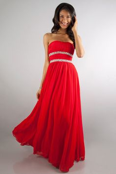 Cute Strapless Prom Dress Floor Length Embellished With Beads
