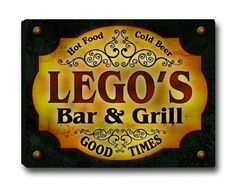 Lego Family Bar & Grill Stretched Canvas Print ZuWEE