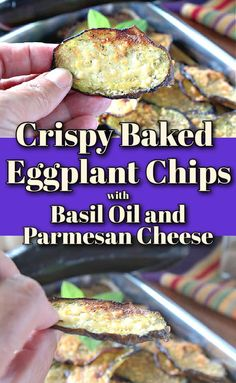 Crispy Baked Eggplant Chips are packed with flavor thanks to a light brushing of homemade basil-infused olive oil and grated Parmesan cheese. #eggplant #eggplantchips #vegetablechips #appetizer #easyappetizer #vegetarianrecipe #parmesancheese #roastedeggplant #vegetablesnacks #plantbasedrecipe #lowcarbsnacks #ketosnacks #kudoskitchenrecipes #freshbasil #infusedoliveoil Eggplant Chips, Baked Eggplant, Eggplant Recipes, Vegetable Chips, Vegetable Snacks, Vegetable Dishes, Pork Recipes, Seafood Recipes, Vegetarian Recipes
