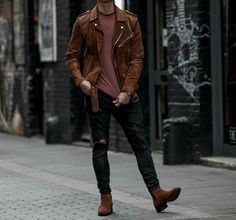 Image discovered by Find images and videos about fashion, Hot and grunge on We Heart It - the app to get lost in what you love. Stylish Mens Outfits, Casual Outfits, Men Casual, Fashion Outfits, Terno Slim Fit, Moda Formal, Style Masculin, Leather Jacket Outfits, Men Style Tips