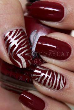 Garnet Red Polish w/Metallic Silver Tiger Stripes Fingernail Designs, Nail Polish Designs, Cool Nail Designs, Nails Design, Red Polish, Nail Polish Art, Cute Nails, Pretty Nails, Diva Nails