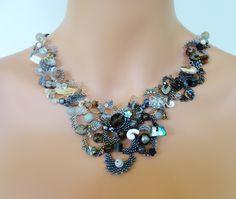 pinterest seed bead freeform necklace | OOAK freeform peyote necklace - beadwoven beaded seed bead jewelry