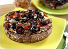 Portabella mushroom pizza.  Verdict: Yum!!  I've made these twice already - a great low-carb version of  pizza.