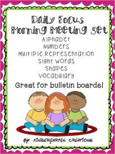 This set is perfect for a morning meeting or an addition to a calendar routine. It includes a letter of the day, number of the day with multiple representation to 10,(more numbers to come), daily shape, sight word focus, and basic reading vocabulary words.